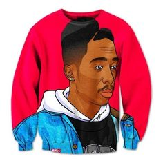 Exclusive Tupac Sweatshirt ($60) ❤ liked on Polyvore featuring tops, hoodies, sweatshirts, sweat shirts, sweatshirt hoodies and sweat tops