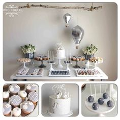 A fabulous gender neutral #babyshower stork theme in #silver #grey #white designed beautifully by @styledbybelle #babyshowerdecorations #desserttable