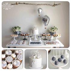 A fabulous gender neutral #babyshower stork theme in #silver #grey #white…