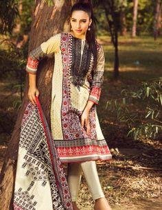 Khaadi Beige Pakistani Cotton Lawn Suit With  Dupatta B15533A