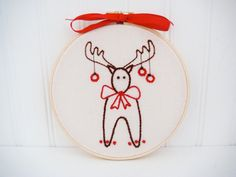 christmas reindeer hand embroidery pattern
