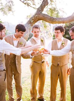 LOVE this idea for an outdoor or springtime wedding - tan/brown color, with only the groom in a jacket