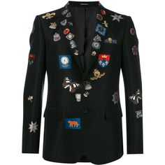 Alexander McQueen badge appliqué blazer (21,345 CNY) ❤ liked on Polyvore featuring men's fashion, men's clothing, men's sportcoats, black and men's sportcoats and blazers