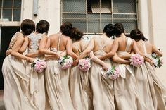 Mai's bridesmaids looking stunning with a selection of dresses in Nude