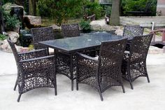 7pc Spider Web Wicker Patio Dining Set with Cushions  $900