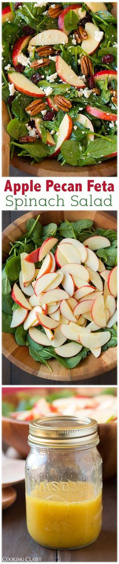 Apple Pecan Feta Spinach Salad with Maple Cider Vinaigrette - this salad is a must try recipe! Highly recommend adding the bacon too. http://eatdojo.com/healthy-salad-recipes-lunch-work-easy-diet/