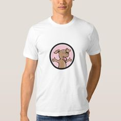 Happy Puppy Arms Out Circle Cartoon T-Shirt. Illustration of a happy puppy smiling with arms out looking to the side set inside circle done in cartoon style. #Illustration #HappyPuppyArmsOut