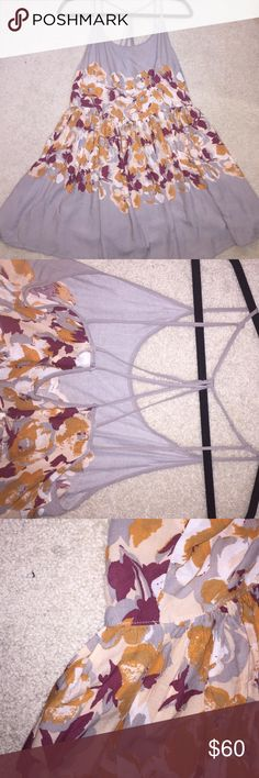Free people cross back dress Free people cross back dress grey with orange and red/white flower pattern Free People Dresses Mini