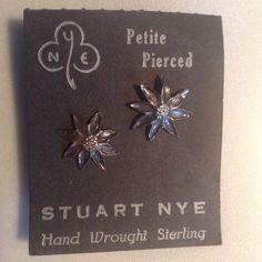 "Stuart Nye Sterling Silver Christmas Poinsettia Flower Earrings .5"" Pierced Stud #StuartNye #Stud"