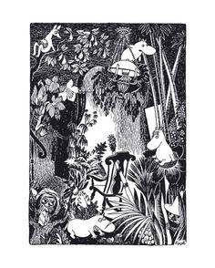 Muumi juliste Keinutuoli metsässä