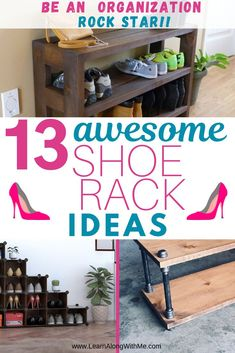 Are you looking for inspiring shoe rack ideas to help organize your front entryway? This list highlights 13 shoe rack ideas to tame the shoe chaos. Entryway Organization, Organization Hacks, Organized Mom, Getting Organized, Narrow Shoe Rack, Shoe Cubby, Shoe Storage, Storage Ideas, White Wall Shelves