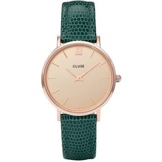 Cluse Cluse  Minuit Rose Gold Case With Champagne Dial And Emerald... (5,530 INR) ❤ liked on Polyvore featuring jewelry, watches, imitation jewelry, imitation jewellery, imitation watches, faux watches and emerald jewelry