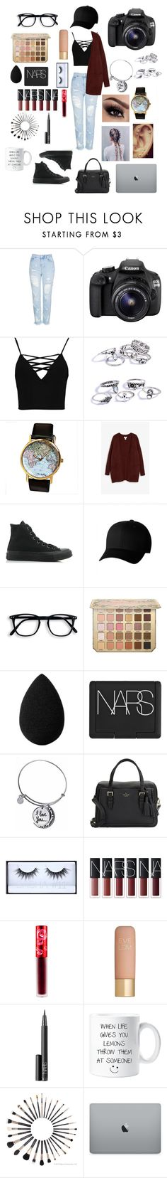 """""""Outfit #65- Photographer!"""" by jaelyn-davis447 ❤ liked on Polyvore featuring Topshop, Eos, Boohoo, Monki, Converse, Flexfit, beautyblender, NARS Cosmetics, Kate Spade and Huda Beauty"""