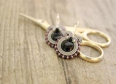 Small round grey and black soutache earrings by pUkke on Etsy