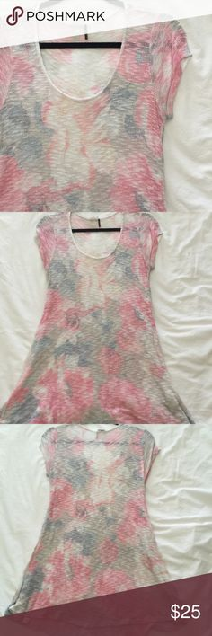 anthropologie floral short sleeve sweater great condition. longer cut makes this cute with leggings or skinny jeans. Anthropologie Tops Blouses