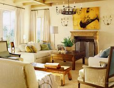 """Why The Decorologist Says """"No"""" to the Sofa and Loveseat Combo. Pic:love how the loveseats and chairs are ACROSS from eachother"""