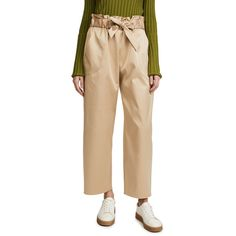 Milly Satin Gathered Kori Pants ($355) ❤ liked on Polyvore featuring pants, khaki, cropped trousers, wide leg pants, wide leg cropped pants, khaki wide leg trousers and satin pants