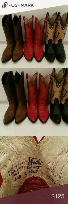 Red Cowboy Boots Justin Boots women's boots Red Cowboy Boots Justin Boots women's boots. Excellent condition.  Size 6.5B  I love my cowboy boots! I need to squeeze into a smaller closet, and am listing 3 pairs of my cowboy boots. The brown Tony Lama boots have already sold!    I have taken meticulous care of my boots. These Justin Boots are comfortable.   This color is very hard to find. They are red with black heels/soles. They are lined with cream colored kidskin. Very few signs of wear…