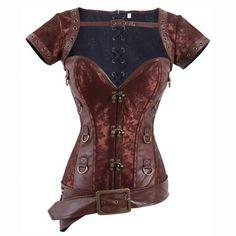 Gothic Brocade Strap Halter Steampunk Warrior Corset Costume Clothing