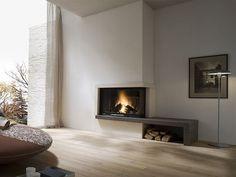 salón moderno al estilo minimalista con chimenea