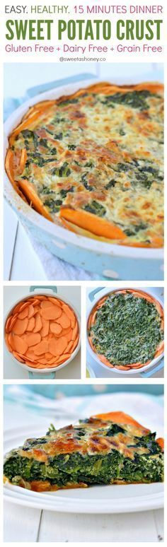 Healthy Sweet Potato Crust. A crustless paleo spinach quiche recipe perfect to incorporate into your whole30 plan. Dairy free, low carb (7 g net carb per slice), low calorie quiche(130 kcal per slice).