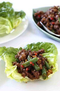 Pork & Green Bean Lettuce Wraps Recipe with Hoisin & Sesame Sauce*-*,