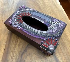 Tissue box holder purple wood and mosaics Tissue Box Holder, Tissue Box Covers, Tissue Boxes, Soft Feet, Covered Boxes, Ball Chain, Mosaic Glass, Flower Vases, Wooden Boxes