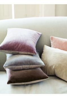 NEW Velvet & Linen Cushion - Blush