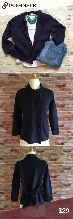 "J.Crew navy wool sweater blazer 3/4 sleeves with button detail. Double breasted front with tie back. Feminine Peter Pan collar. 100% wool, soft and not itchy. 21.5""L. 18"" bust laying flat. Good preloved condition. J. Crew factory. Size medium. J. Crew Sweaters Cardigans"
