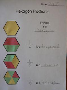Mrs. T's First Grade Class: Hexagon Fractions