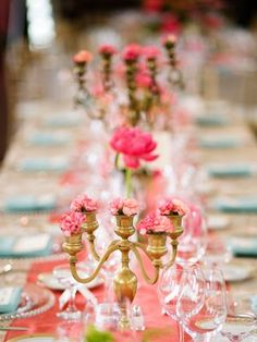 A clever way to cut down on flower costs… use an inexpensive candelabra