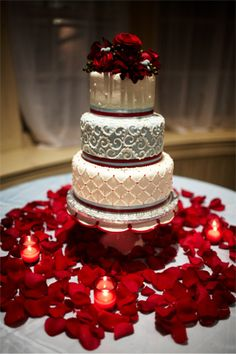 Rose petals and wedding cake