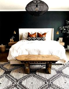 Affordable Home Decor Ideas white bedding ideas! Home Decor Ideas white bedding ideas! Green Bedroom Walls, Bedrooms With Accent Walls, Dark Walls Living Room, Living Rooms, Master Bedroom Makeover, Black Master Bedroom, Spare Bedroom Ideas, Bedroom Ideas For Couples, Modern Boho Master Bedroom