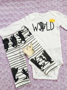 This is a full set- shirt and leggings/pants. Perfect for a first birthday. We can add a name or number! Made to order. 1-3 business days.