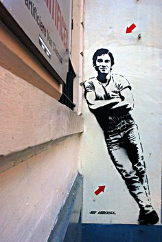 Photos of Jef Aérosol street art in Brussels: Found at the 2nd Hand Record Store Music Store