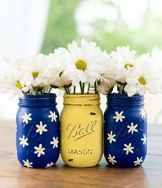 Daisy Painted Mason Jars  Cobalt Blue and Yellow Painted