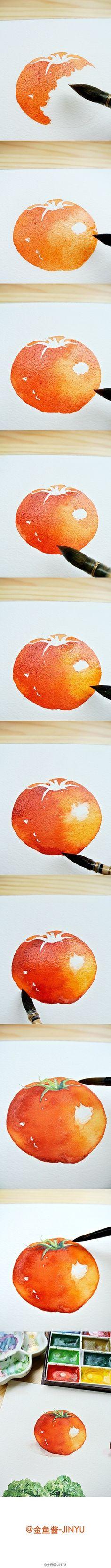 【绘画教程】西红柿番茄 食材小品、新书内页、四种技法、分享学习、希望受用。(内有长副步骤图耐心等候加载……)