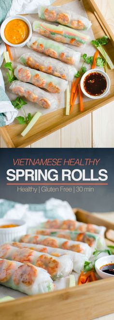 Vietnamese healthy spring rolls with creamy peanut butter sauce are a perfect treat to yourself at home. 30 min flavorful & healthy rolls for lunch or dinner The post Vietnamese healthy spring rolls with peanut butter sauce appeared first on Food Monster. Lunch Recipes, Appetizer Recipes, Breakfast Recipes, Cooking Recipes, Healthy Recipes, Party Appetizers, Breakfast Ideas, Party Snacks, Shrimp Recipes