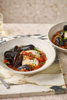 Any fish or seafood can be added to this simple white wine and tomato-based stew. You could try salmon and prawns instead. Fish Stew, Delicious Dinner Recipes, Prawn, Bruschetta, Salmon, Seafood, Fresh, White Wine, Ethnic Recipes