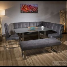 Luxury 8 seater Grey Suede Corner L-Bench chair glass top dining set 5 Corner Dining Table Set, Corner Bench Dining Table, Dining Set With Bench, Living Room Table Sets, Dining Table Chairs, Living Room Chairs, Dining Sets, Glass Dining Table, Modern Dining Chairs