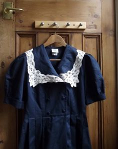 vintage laura ashley dress with  lace sailor collar