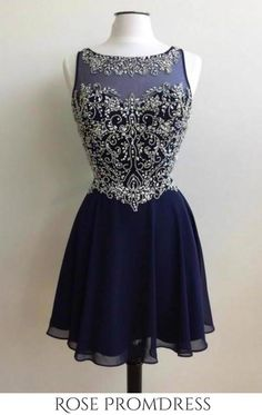 This dress could be custom made, there are no extra cost to do custom size and color, Dark blue chiffon beading round neck short handmade prom dress Cute Homecoming Dresses, Cheap Prom Dresses, Dresses For Teens, Sexy Dresses, Short Dresses, Formal Dresses, Wedding Dresses, Summer Dresses, Grad Dresses