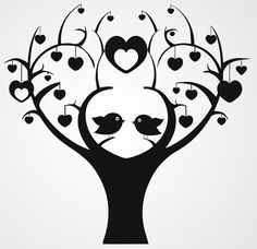 """Tjilp Tjilp Here a """"Love Birds Tree"""" Silhouette/ Template/ Stencil/ Sjabloon for many different purposes! Thinking about: Card making, Wall Decoration, Scrapping, Journals......"""