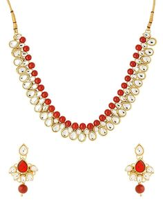 Amazing Indian Bollywood Party Wear Kundan Gold Plated Red Stone Necklace Set #natural_gems15