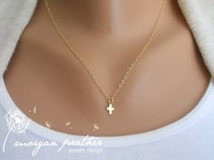 Tiny Cross Necklace in Gold - Little Dainty Cross Charm on Gold Filled Fine Cable Chain - Faith Necklace - morganprather