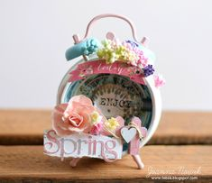 Joanna Nowik made this sweet Spring altered clock for our Make it Prima challenge for March! #altered #clock #Spring
