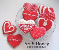 Valentine hearts cookies Feliz Día de San Valentín galettas
