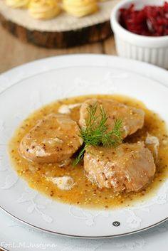 : Polędwiczki w sosie musztardowym Thai Red Curry, Steak, Food And Drink, Dinner Recipes, Pork, It, Cooking, Ethnic Recipes, Kale Stir Fry