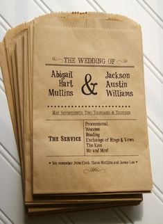 Wedding Ceremony Programs Printed on Kraft Paper Bags from Anna Lou Avenue / as seen on www.BrendasWeddingBlog.com