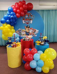 Paw Patrol Birthday Decorations, Paw Patrol Birthday Theme, Birthday Balloon Decorations, Kids Party Decorations, Paw Patrol Balloons, Baby Shower Deco, Birthday Parties, Desserts, Food